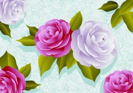рисунок, цветы, вектор, роза