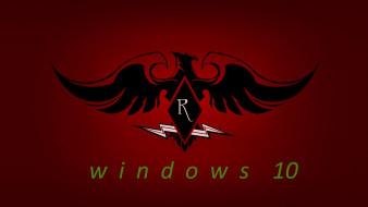 компьютеры, windows  10, орел, фон, логотип