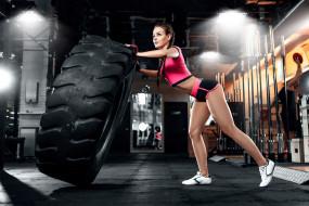 спорт, body building, брюнетка, косы, короткие, шорты, перчатки, кроссовки, шины, косички, живот, спортзалы, спортивная, одежда