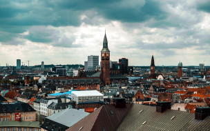города, копенгаген , дания, панорама
