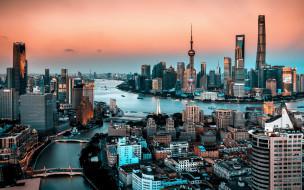 шанхай, китай, города, шанхай , небоскребы, современные, здания, азия, закат, мегаполис
