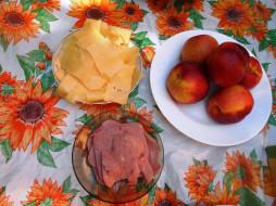яблоки, сыр, колбаса, еда