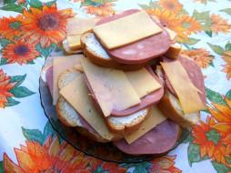 хлеб, сыр, колбаса, еда, бутерброды