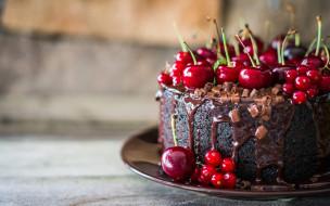 торт, вишня, еда