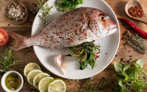 морепродукты, специи, рыба, еда