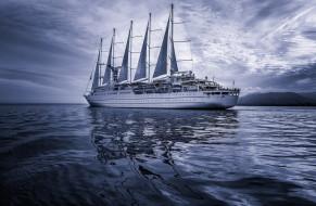 побережье, парус, синий, небо, корабль, море, wallhaven