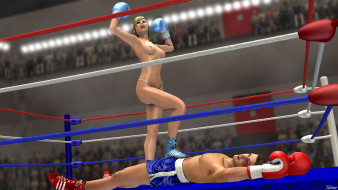 эро-графика, 3d спорт, бокс, ринг, фон, взгляд, девушки