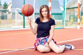 девушка, спорт, баскетбол, модель