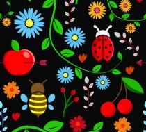 вектор, цветы, рисунок
