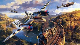 полет, самолеты, рельсы, небо, паровоз