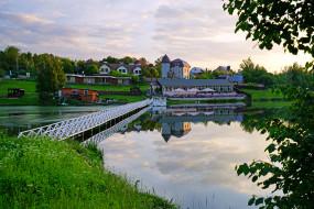 населенный пункт, ромашково, пруд, московская область, мост