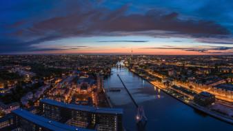 Германия, огни, панорама, Берлин, дорога, Шпрее, река, дома, здания, телебашня, ночь, город, сумерки, мосты, небо