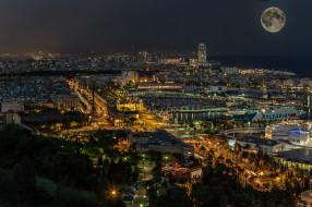 огни, Луна, море, город дома, ночь, Барселона, Испания, Католония