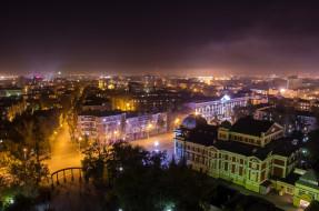 небо, фонари, ночь, город, Россия, Иркутск, деревья, панорама, улица, архитектура