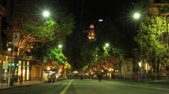 города, мельбурн , австралия, мельбурн, дома, огни, улица, деревья, ночь