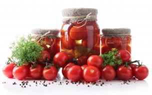 томаты, помидоры, консервация, еда
