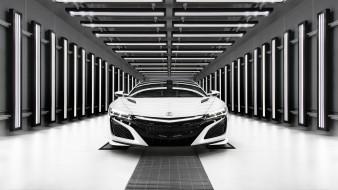 2019 acura nsx, автомобили, acura, белый, суперкар, 2019, nsx, front, view