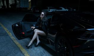 ноги, женщины, модель, автомобиль, женщины с автомобилями, кожаные куртки, Lamborghini Huracan, егор жинков