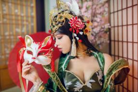 шатенка, ресницы, комната, рука, интерьер, азиатка, лицо, поза, зеленый, грудь, девушка, красный, украшения, образ, декольте