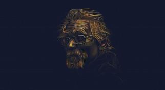 борода, мужчина, очки, фон