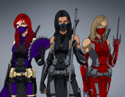 униформа, оружие, взгляд, фон, девушки
