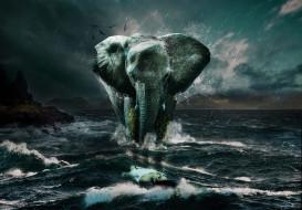 море, девушка, вода, wallhaven, природа, слон