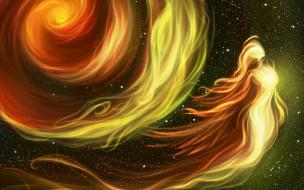 космос, фэнетзи, огонь, by Earlinwe, девушка