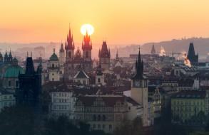 солнце, Чехия, панорама, дома, Прага