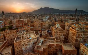 столица йемена, cана, вечер, закат, жилые здания, аравийский полуостров, архитектура, дома