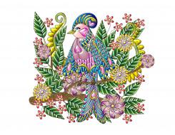птица, цветы