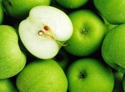 половина, зеленые, яблоки