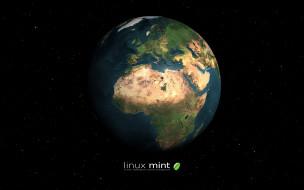 планета, высокие технологии, компьютеры, linux, фон, логотип, линукс минт, линукс, linux mint, операционная система, Земля, глобус, графика
