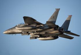 небо, летит, синее небо, F-15E, боевой самолёт