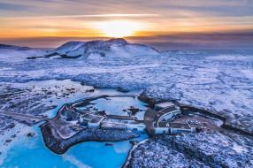 исландия, туризм, лед, снег, гейзеры, озеро, закат, wallhaven, пейзаж, зима, с высоты птичьего полета