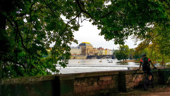 влтава, мост, река