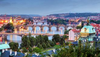 вечер, мосты, влтава, река