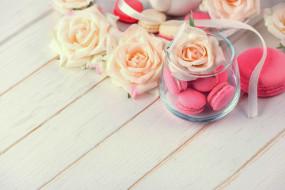 макаруны, лакомство, розы