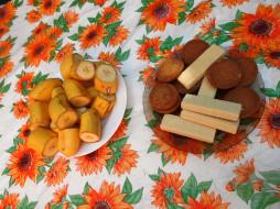 бананы, печенье, вафли, еда