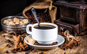 чашка, мешок, зерна, кофемолка, кофе