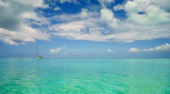 море, небо, яхта, облака