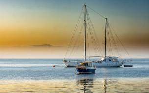 парусник, вечер, белая яхта, катер, закат, морской пейзаж, мачты