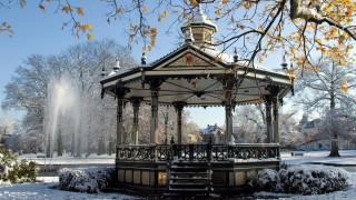 парк, зима, беседка