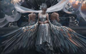 зеркало, платье, девушка, фон