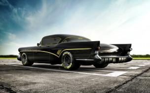 buick roadmaster, автомобили, buick, суперкары, взлетно-посадочная, полоса, тюнинг, ретро, американские, roadmaster, черный