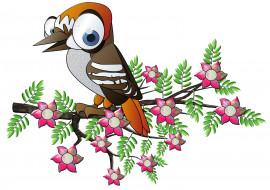 векторная графика, животные , animals, ветка, цветы, птица
