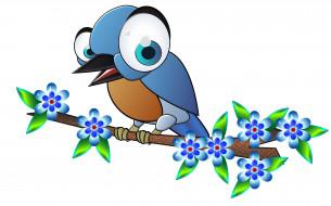 векторная графика, животные , animals, цветы, птица, ветка