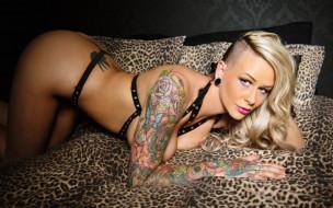 взгляд, модель, поза, макияж, ремни, татуировка, блондинка, девушка, Adelaide, Jayme Foxx, Jayme Foxx