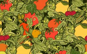 абстракция, текстура, pattern, fruits, vegetables, фон, seamless, Leaves