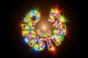 праздничные, векторная графика , новый год, лучи, фон, новый, год, надпись