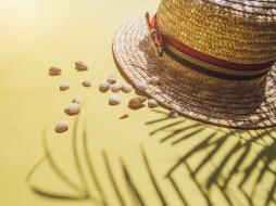 песок, ракушки, лето, пляж, шляпа
